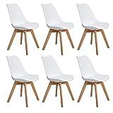 EGGREE 6er Set Esszimmerstühle Skandinavisch Küchenstuhl Stühle Modern mit Massivholz Eiche Bein...