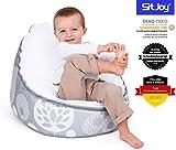 Sitjoy Baby-Sitzsack doomoo | Toxproof-Perlen Füllung | Tree Silber | Liegekissen –...