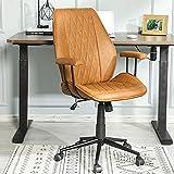 Bürostuhl Leder braun Schreibtischstuhl PU mit Abnehmbare Armlehne, Drehstuhl Arbeitsstuhl...