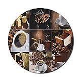 Kaffeemaus-Pad für Computer, verschiedene Fotos von Kaffeetassen und gerösteten Sitzsäcken Mühle...