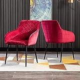 Mingone 2er Set Retro Esszimmerstuhl Küchenstuhl Wohnzimmerstuhl Sitzfläche aus Samt,Gestell aus...