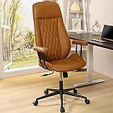Bürostuhl Leder PU Braun Chefsessel mit Abnehmbare Armlehne Schreibtischstuhl Home Office Stuhl mit...