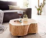 DELIFE Wohnzimmertisch Live-Edge Akazie Natur L rollbar Baumstamm Massivholz Couchtisch