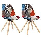 WOLTU® BH52mf-2 2 x Esszimmerstühle 2er Set Esszimmerstuhl mit Sitzfläche aus Leinen Design Stuhl...