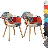 N/A 2er Set Esszimmerstühle Küchenstuhl Wohnzimmerstuhl Design Stuhl mit Rückenlehne Leinen...