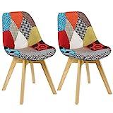 WOLTU BH29mf-2 2 x Esszimmerstühle 2er Set Esszimmerstuhl Design Stuhl Küchenstuhl Holz