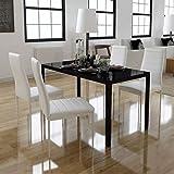 Festnight- Esstisch mit 4 stühlen | Metall Essgruppe Esstischgruppe Sitzgruppe Glas Esstisch-Set...