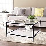 Furniture-R France Couchtisch aus Glas, rechteckig, Rahmen aus Metall, Glasplatte, Glas-Oberfläche,...